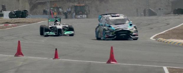 Rallycross vs Formula 1: Duel spectaculos intre Ken Block si Lewis Hamilton