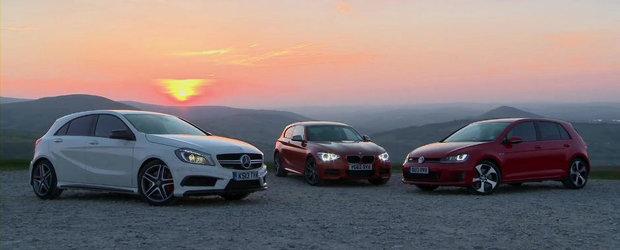 Razboiul hot-hatch-urilor: Mercedes A45 AMG vs BMW M135i vs VW Golf GTI