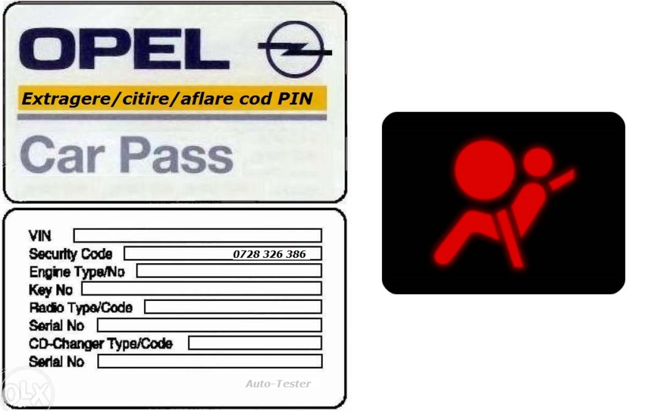 Resetare airbag & extragere citire aflare carpass cod pin securitate car pass Opel