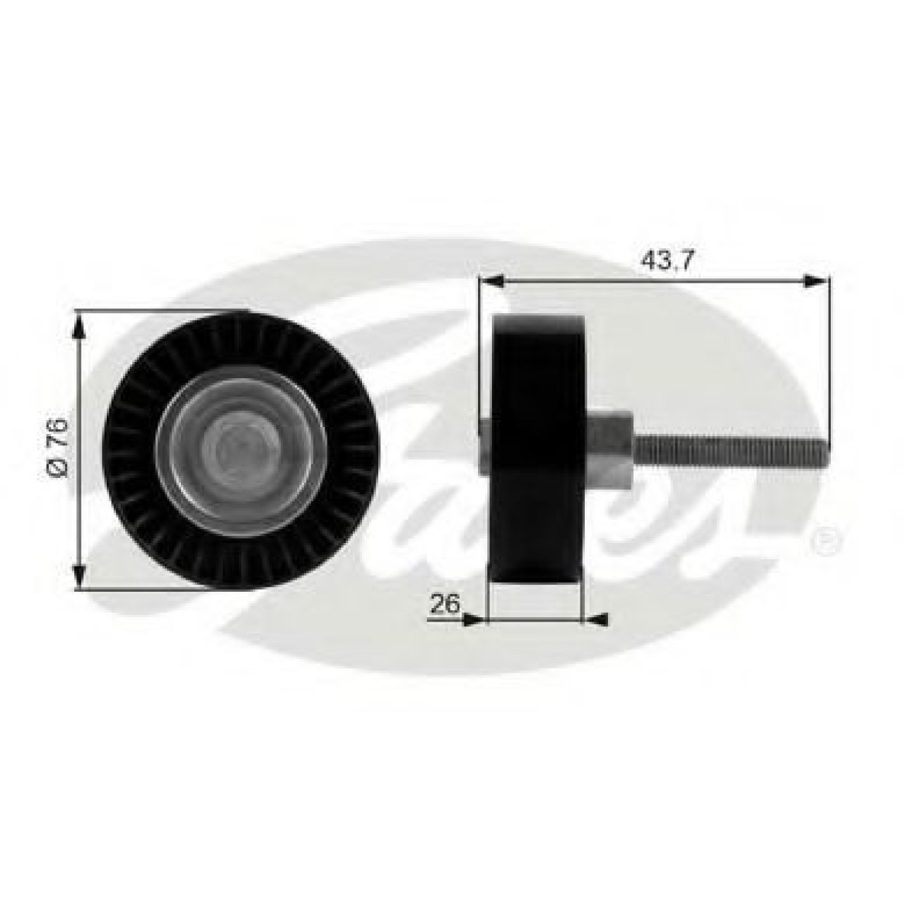 Rola ghidare/conducere, curea transmisie AUDI A1 Sportback (8XA, 8XF, 8XK) (2011 - 2016) GATES T38054 - produs NOU