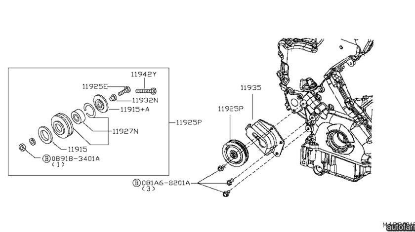 Rola ghidare curea servodirectie Nissan Cabstar (poz.11925P) NISSAN OE 11925-VC80A