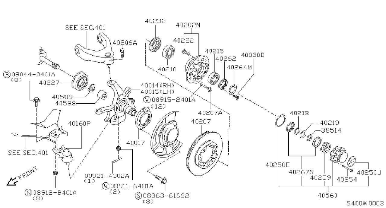 Rulment punte fata Nissan Terrano II BTA J4701029