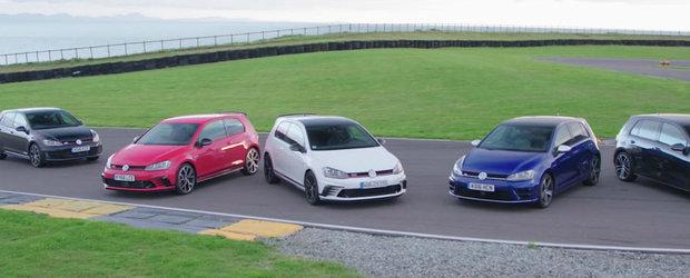 Sa inceapa razboiul. 6 versiuni ale Volkswagen-ului Golf puse fata in fata pe circuitul Angelsey