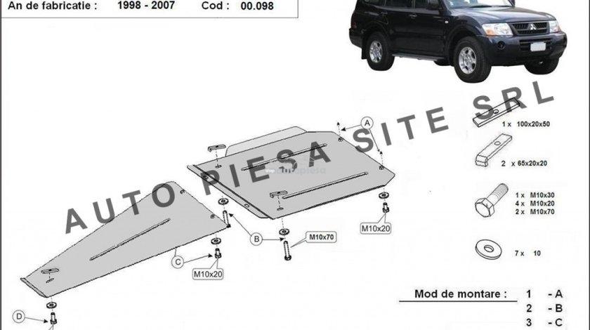 Scut metalic cutie + diferential Mitsubishi Pajero 3 III fabricat in perioada 2000 - 2007 APS-00,098 produs NOU