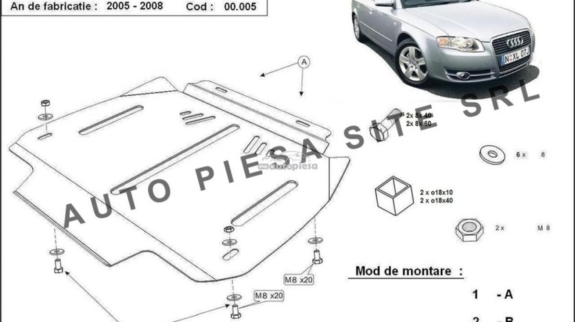 Scut metalic cutie viteze automata Audi A4 B7 (4 cilindrii) fabricat in perioada 2005 - 2008 APS-00,005 piesa NOUA