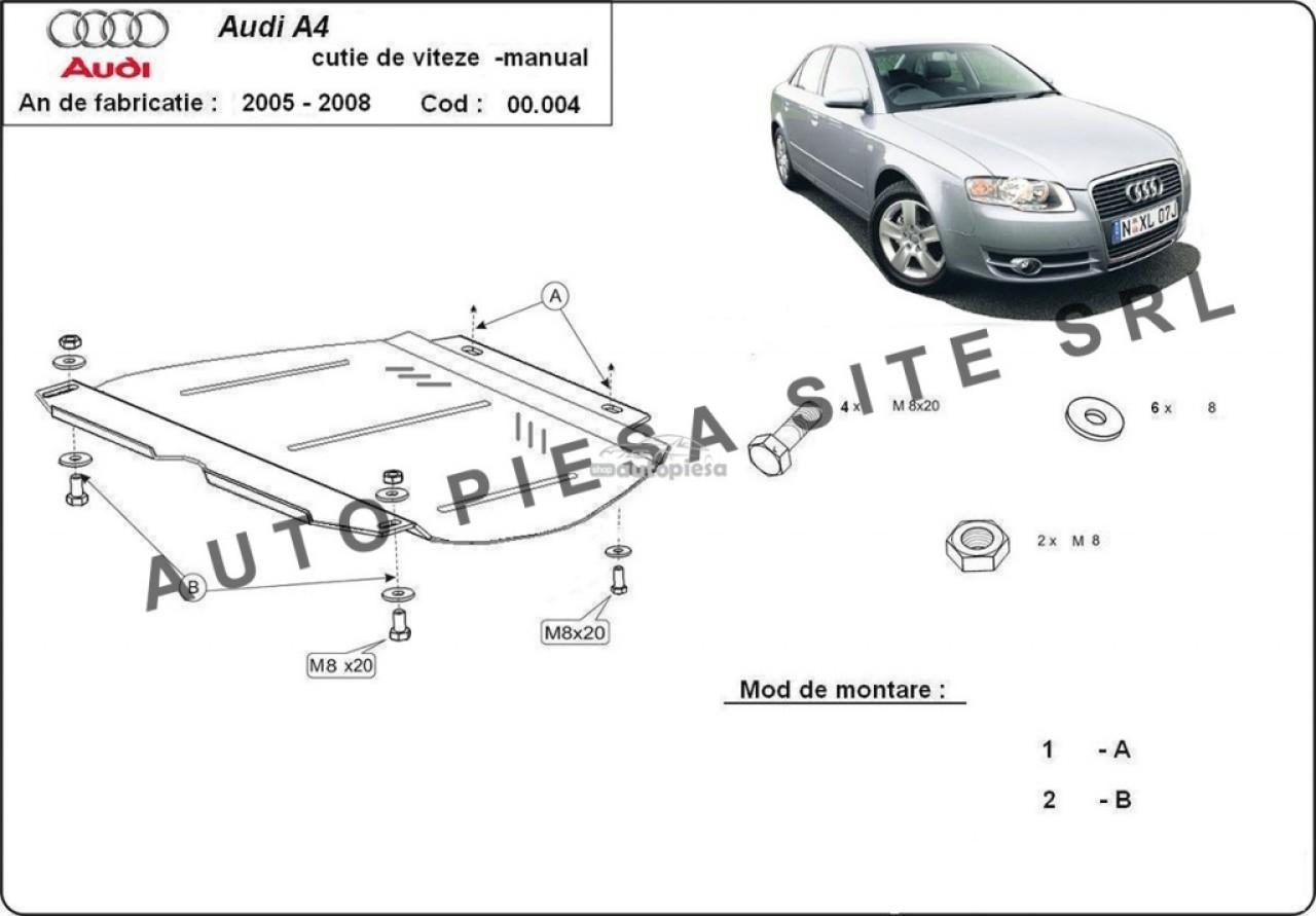 Scut metalic cutie viteze manuala Audi A4 B7 (4 cilindrii) fabricat in perioada 2005 - 2008 APS-00,004 piesa NOUA