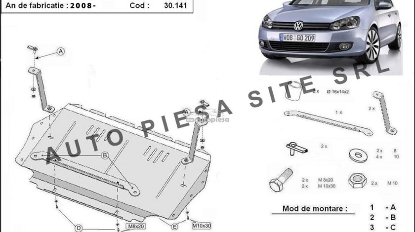 Scut metalic motor VW Golf 6 VI fabricat incepand cu 2009 APS-30,141 - produs NOU