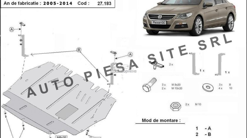 Scut metalic motor VW Passat CC fabricat in perioada 2008 - 2012 APS-27,183 - produs NOU