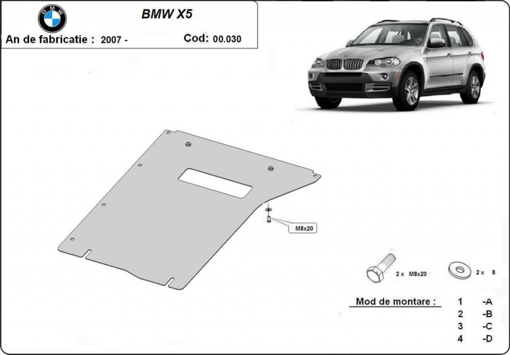 Scut metalic pentru cutia de viteze Bmw X5 E70/F15 2007-prezent