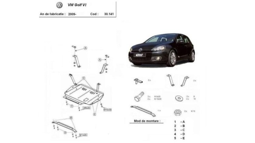 SCUT METALIC  PENTRU VW GOLF 6