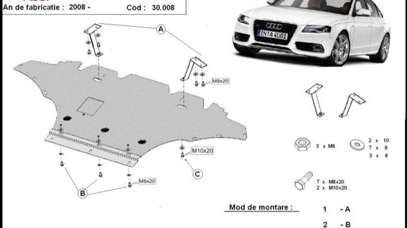 Scut motor metalic Audi A4 Benzina B8 2008-2014