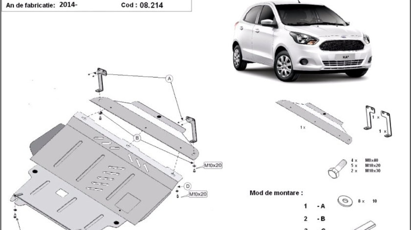 Scut motor metalic Ford KA+ 2014-prezent
