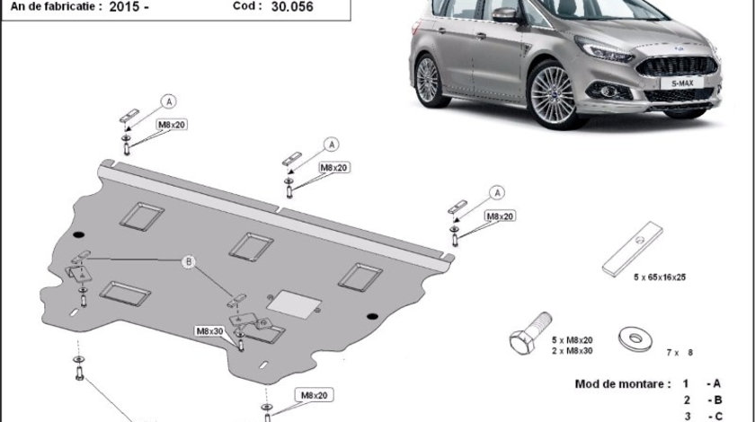 Scut motor metalic Ford S-Max 2015-prezent
