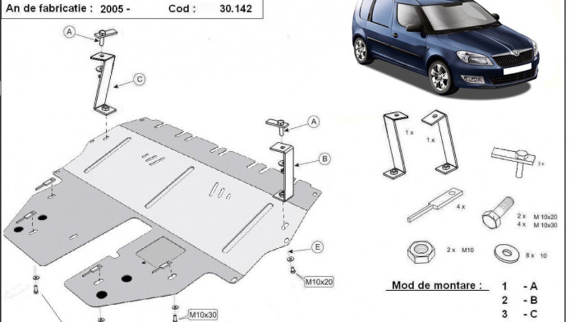 Scut motor metalic Skoda Praktik 2006-2015