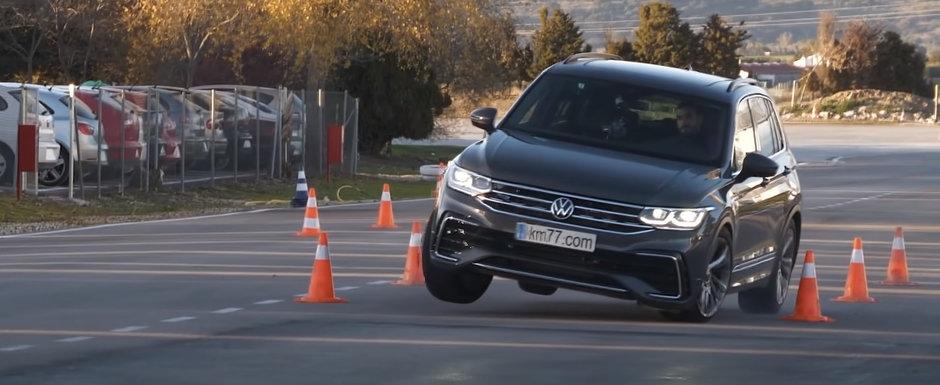 Sefii de la Volkswagen se ascund in casa de rusine. Noul Tiguan Facelift, la un pas sa se rastoarne la testul elanului!