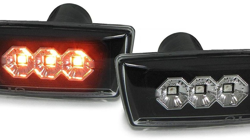 Semnale aripa Opel Astra H / Insignia/ Zafira B / Corsa D negru LED patrat