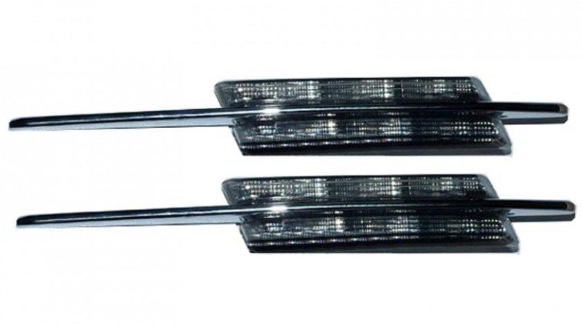 Semnalizatoare Aripa cu LED si Ornament Cromat, Fumurii, BMW Seria 3 E46