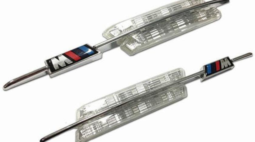 Semnalizatoare Aripa cu LED si Ornament Cromat + Sigla ///M, Transparente, BMW Seria 3 E46