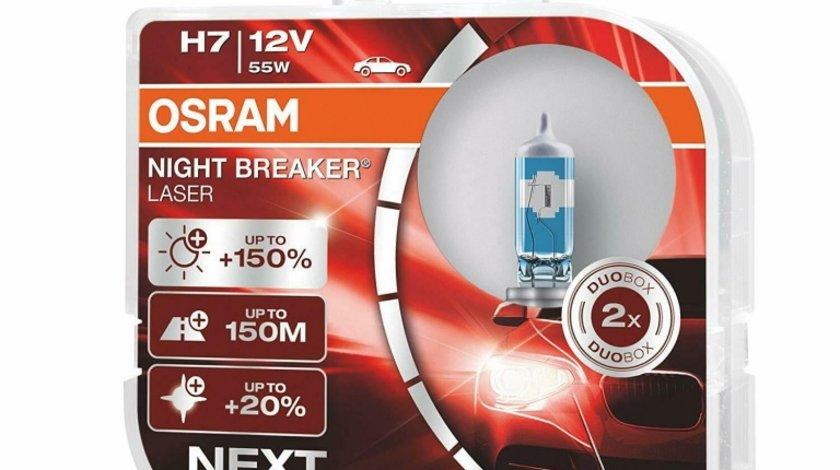 Set 2 becuri auto cu halogen pentru far Osram Night Breaker Unlimited H7 12V 55W +150% mai multa lumina, 64210NL-HCB, culoare 3750k, 1500lm Kft Auto