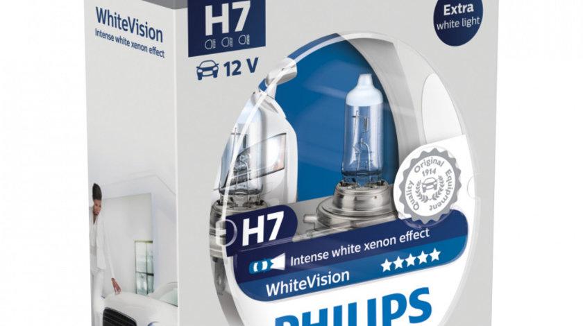 Set 2 Becuri auto cu halogen pentru far Philips H7 White Vision 12V 55W