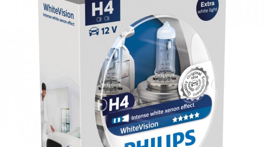 Set 2 Becuri auto cu halogen pentru far Philips H4 White Vision 12V 55W