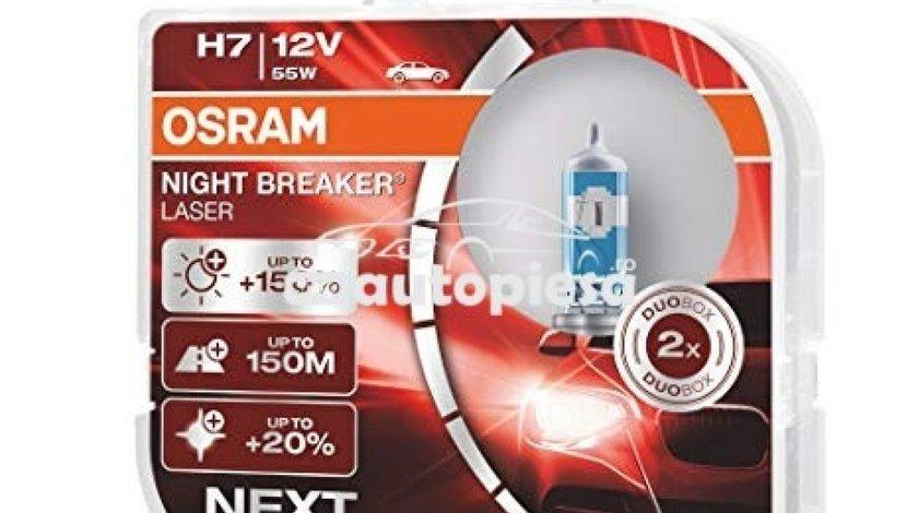 Set 2 becuri Osram H7 Night Breaker Laser Next Gen (+150% lumina) 12V 55W 64210NL-HCB - produs NOU