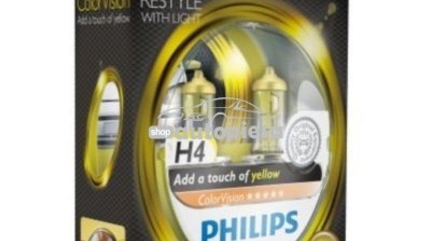 Set 2 becuri Philips H4 ColorVision galben 12V 60/55W 12342CVPYS2 piesa NOUA
