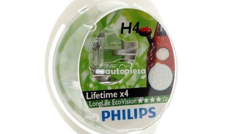 Set 2 becuri Philips H4 LongLife EcoVision 12V 60/55W 12342LLECOS2 piesa NOUA