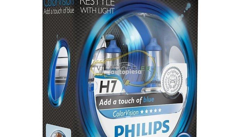 Set 2 becuri Philips H7 ColorVision albastru 12V 55W 12972CVPBS2 - produs NOU