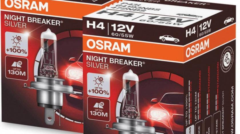 Set 2 Buc Bec Osram H4 12V 60/55W Night Breaker Silver +100% 64193NBS