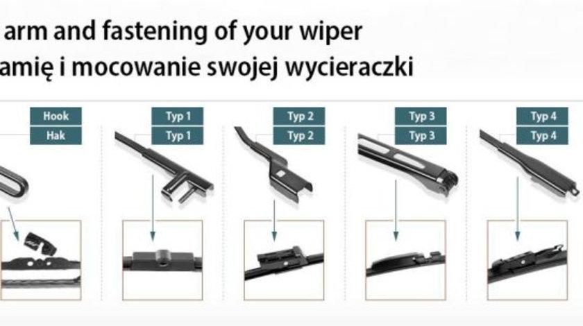 Set 2 stergatoare cu spoiler Flat Blades 700mm MERCEDES S (W220), S (W221); CITROEN C6; PEUGEOT 407 dupa 1998