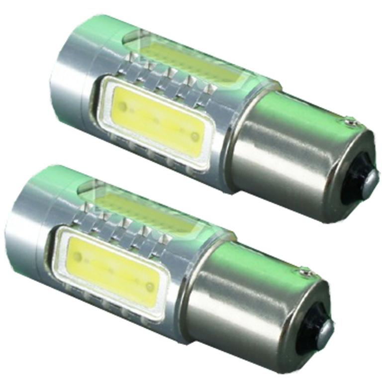 Set Becuri LED P21W cu 6 SMD Epistar si Cree, Lumina Galbena