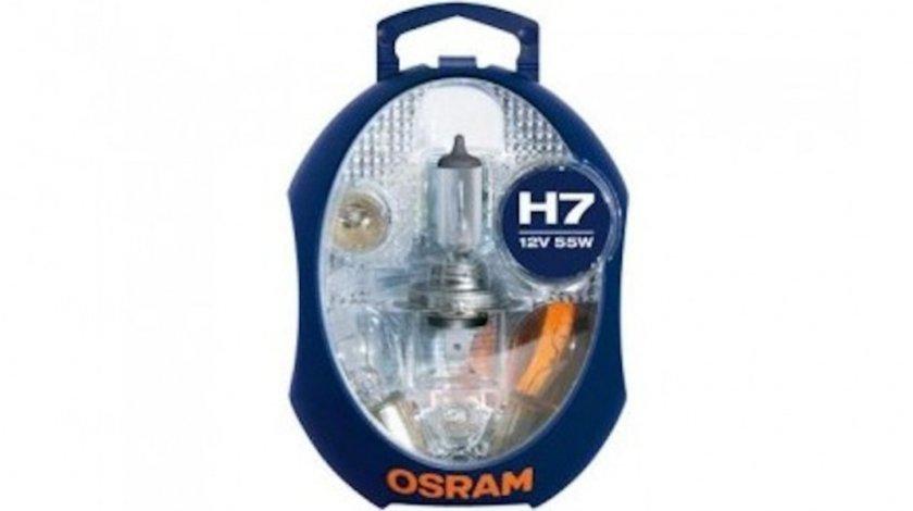 Set becuri rezerva H7 55W 12V, Trusa becuri Auto + Sigurante, becuri Osram
