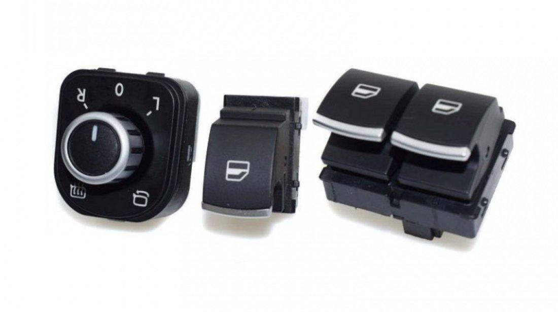 Set Bloc comenzi geamuri+Buton reglaj oglinzi+Buton pasager Volkswagen Tiguan 1 5N 2007-2014 Crom