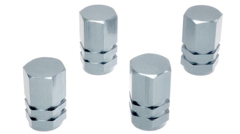 Set capacele auto Automax pentru ventil hexagon silver, 4 buc.