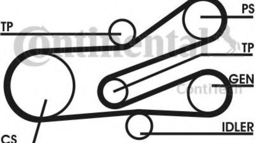 Set curea transmisie cu caneluri PEUGEOT 306 (7B, N3, N5) (1993 - 2003) CONTITECH 6PK1468D1 - produs NOU