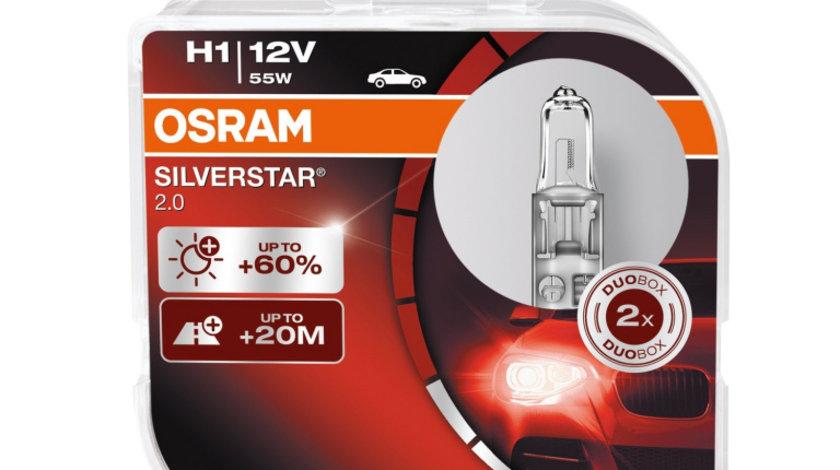 Set de 2 becuri Osram Silverstar H1 12V 55W
