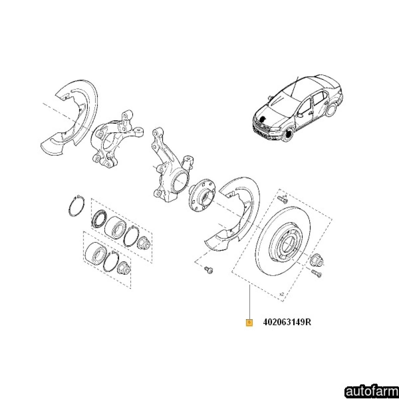 SET DISC FRANA FATA (258*22) LOGAN II / SANDERO II RENAULT 402063149R <br>