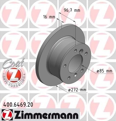 Set discuri frana spate r272mm gama zimmermann pt mercedes sprinter 95-2011