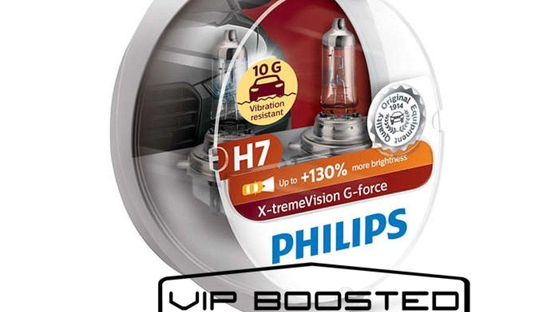 Set doua becuri halogen Philips H7 Xtreme Vision G-force +130% rezistent 10G, 12V