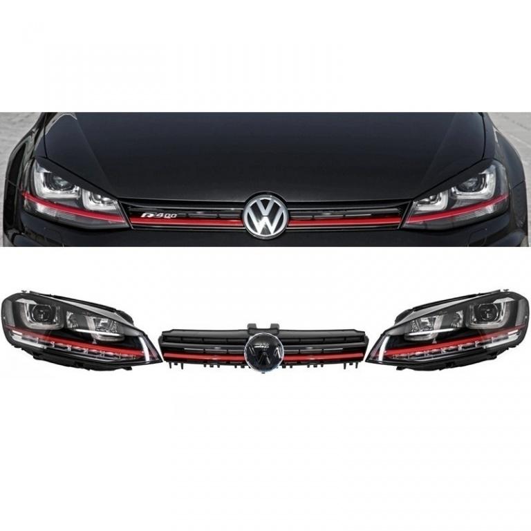 Set Faruri Dreapta + Stanga + Grila Am Volkswagen Golf 7 2012→ 3D LED R20 GTI Design