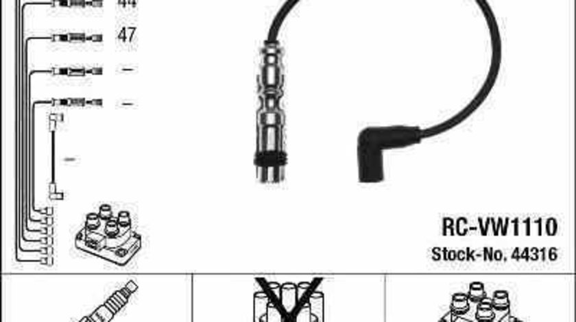 Set fise bujii AUDI A1 Sportback 8XA 8XK NGK 44316