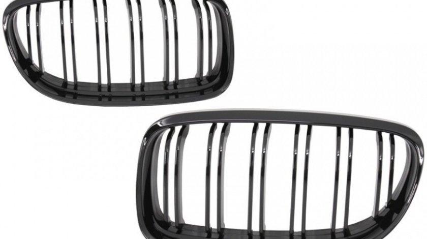 Set Grile Radiator Nari Duble Bmw Seria 3 E91 2008-2012 LCI M Design Negru Lucios