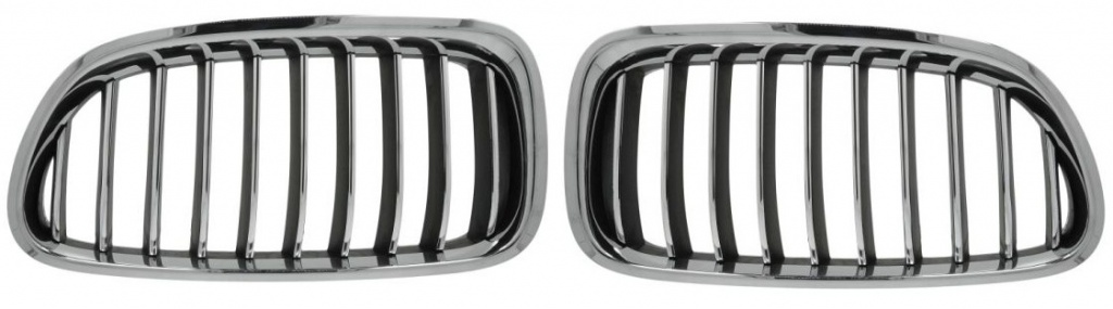 Set grile radiator (nari) noi fara bandou BMW Seria 5 F10 LCI Crom&Negru