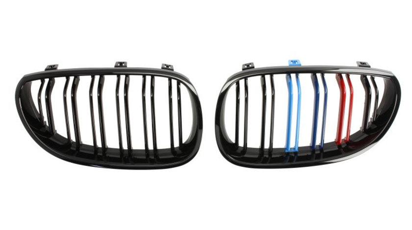 Set grile radiator negru lucios, pachet M 2 piese BMW Seria 5 (E60) 520 d/520 i/523 i/525 d/525 d xDrive/525 i/525 i xDrive/525 xd/525 xi/530 d/530 d xDrive/530 i/530 i xDrive/530 xd/530 xi/535 d/535