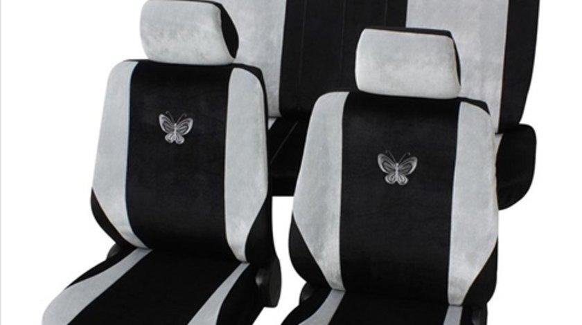Set huse scaune universele negru cu luni petex imprimeu fluturi