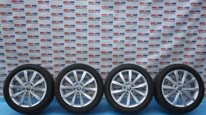 Set jante aliaj cu anvelope Dunlop 225 / 45 / R17 5X112 ET 49 7.0JX17H2 cod: 5G0601025R VW Golf 7 model 2014