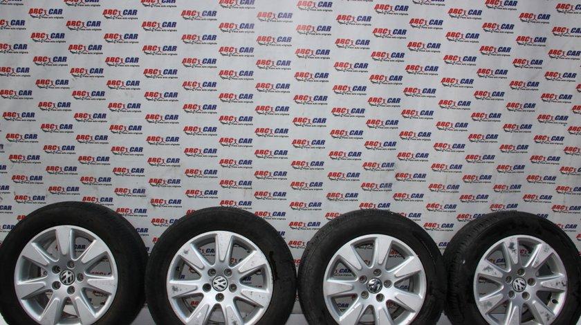 Set jante aliaj cu anvelope M+S 225 / 55 / R16 VW Passat B6 7JX16H2 ET45 cod: 3C0601025A model 2007
