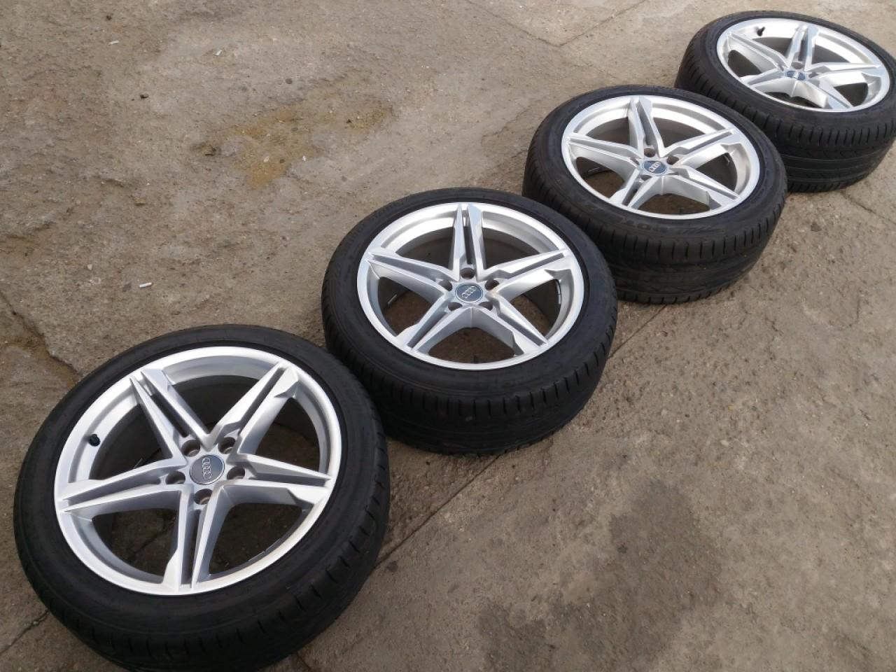 Set jante aliaj pe 18 5x112 8,5J ET 29 + anvelope Bridgestone Potenza 245/40 R18 dot (1817) Audi VW