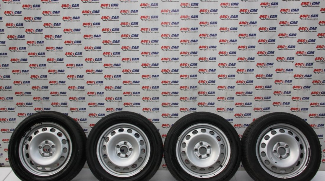 Set jante tabla cu anvelope Brigestone 205/55/R16 VW Caddy 2K 6JX16H2 ET 50 model 2013
